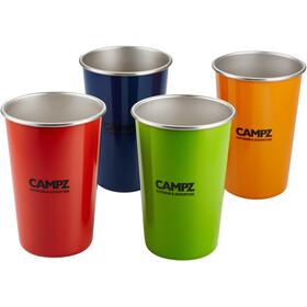 CAMPZ Set di bicchieri impilabili acciaio inossidabile 4 pezzi, colorato
